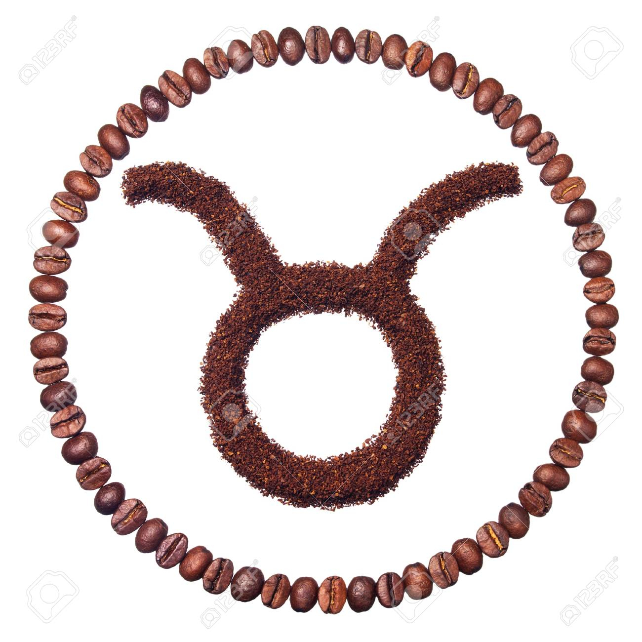 Taurus - Zodiac Signs Of Ground Coffee And Coffee Beans Isolated..