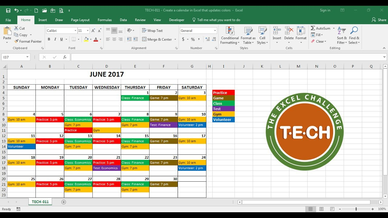 Tech-011 - Create A Calendar In Excel That Automatically Updates Colors Event Category