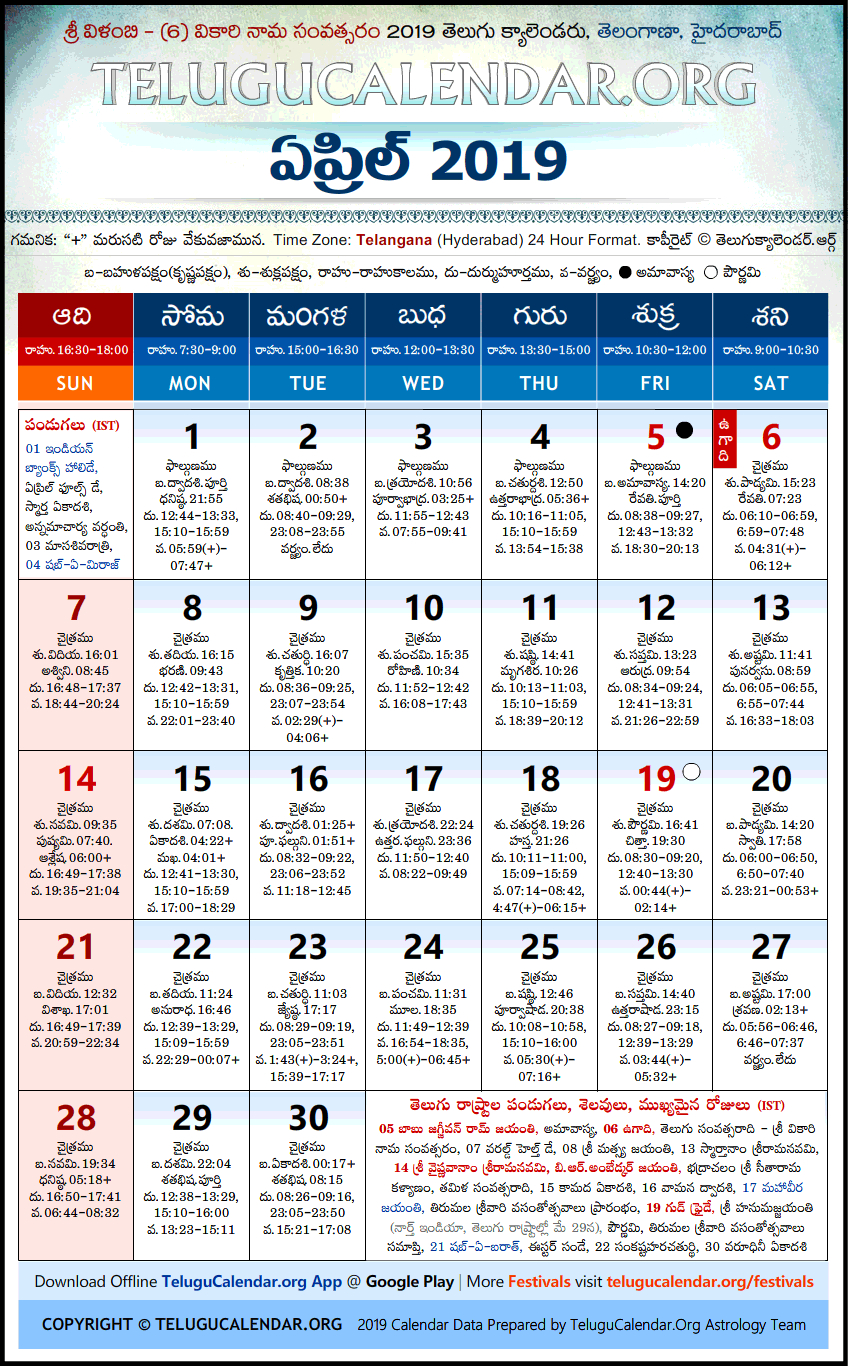Telangana | Telugu Calendars 2019 April Festivals Pdf