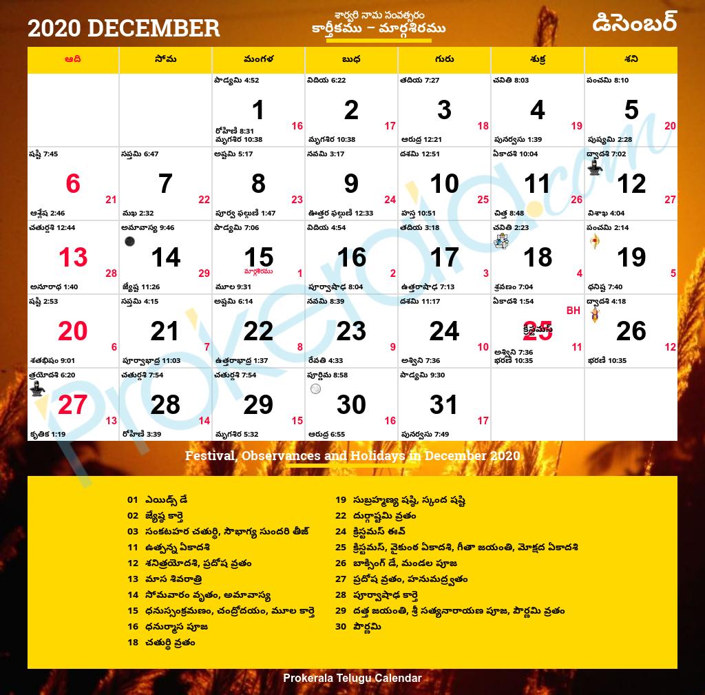 Telugu Calendar 2020, December