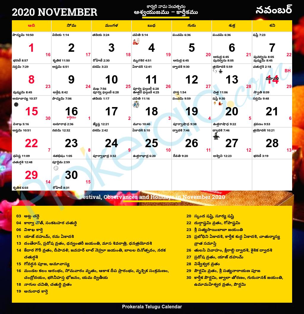 Telugu Calendar 2020, November