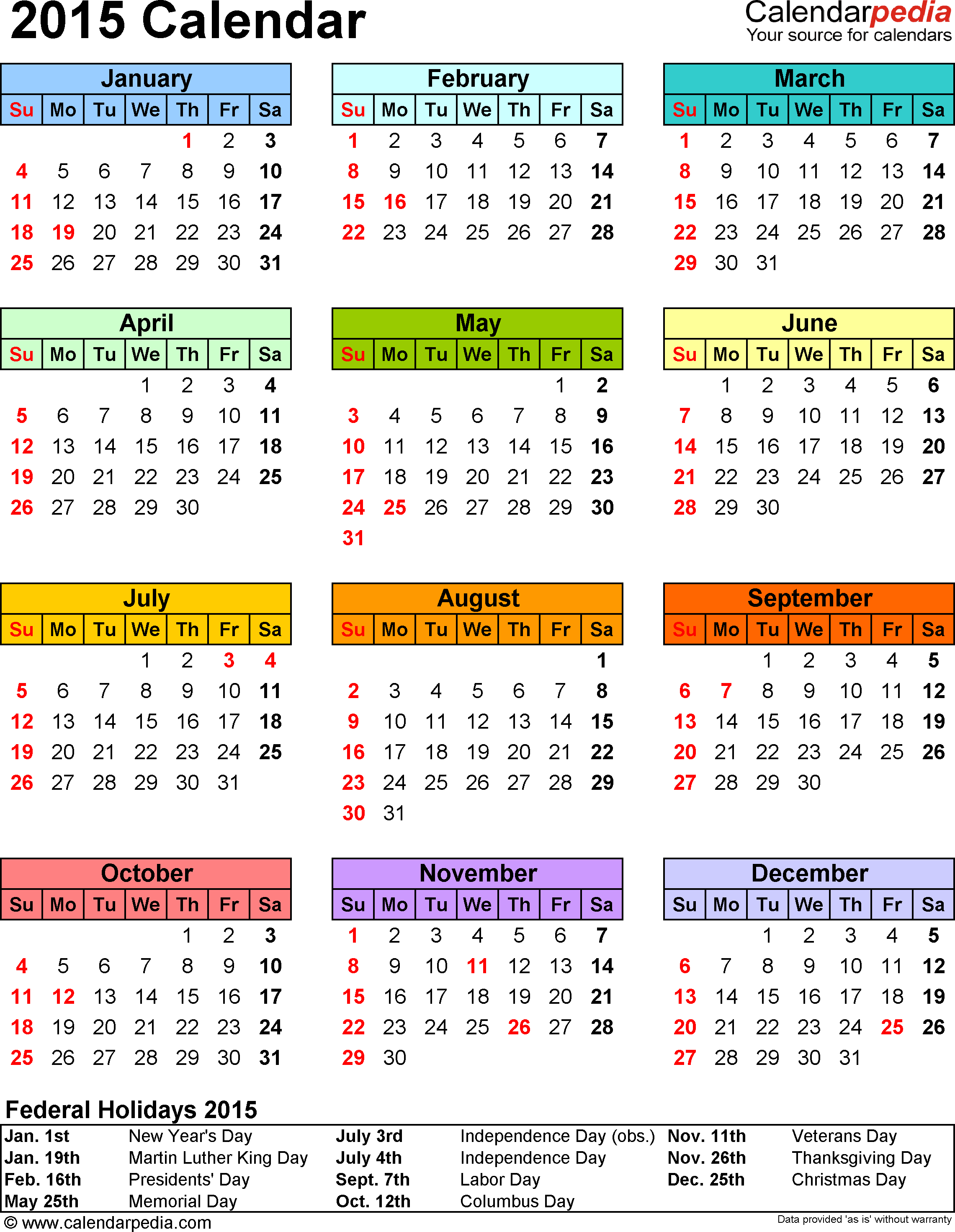 Template 13: 2015 Calendar For Pdf,1 Page, Portrait