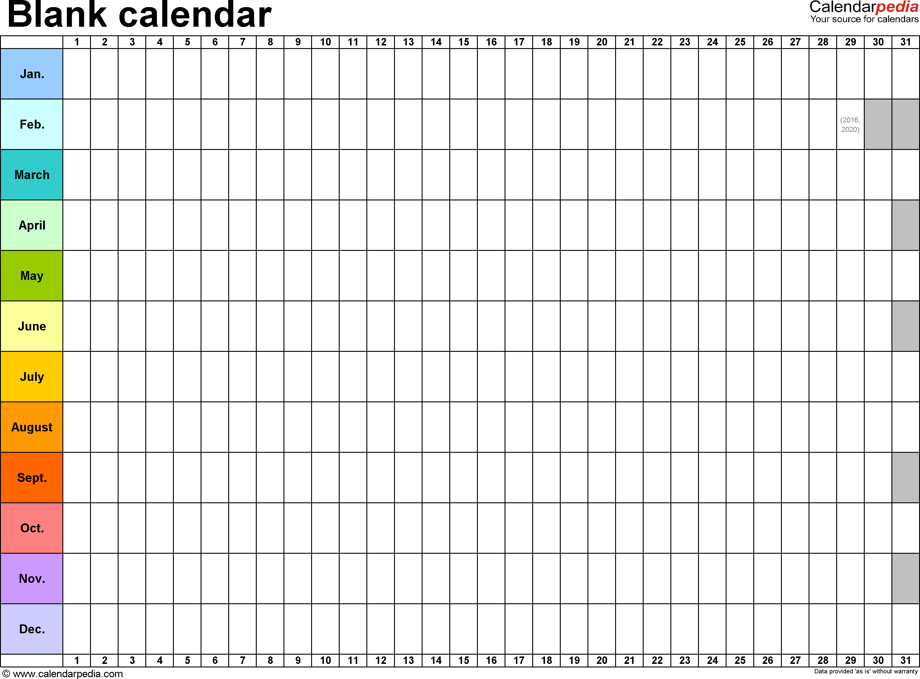 Template 2: Excel Template For Blank Calendar (Landscape