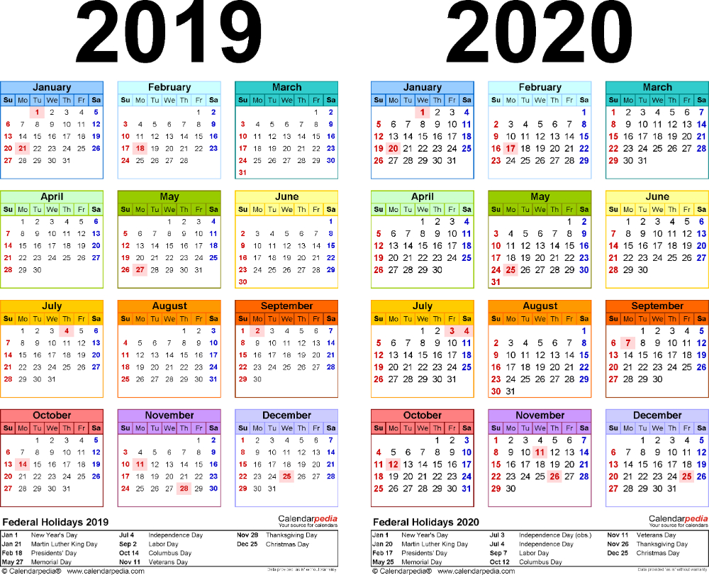 Template 2: Pdf Template For Two Year Calendar 2019/2020
