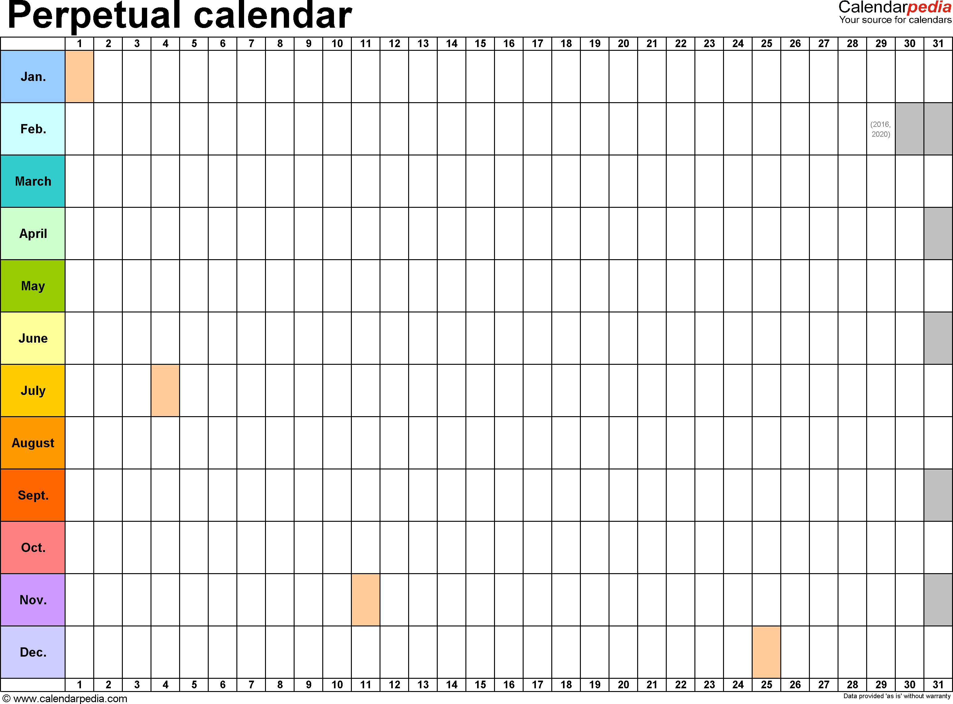 Template 2: Word Template For Perpetual Calendar (Landscape