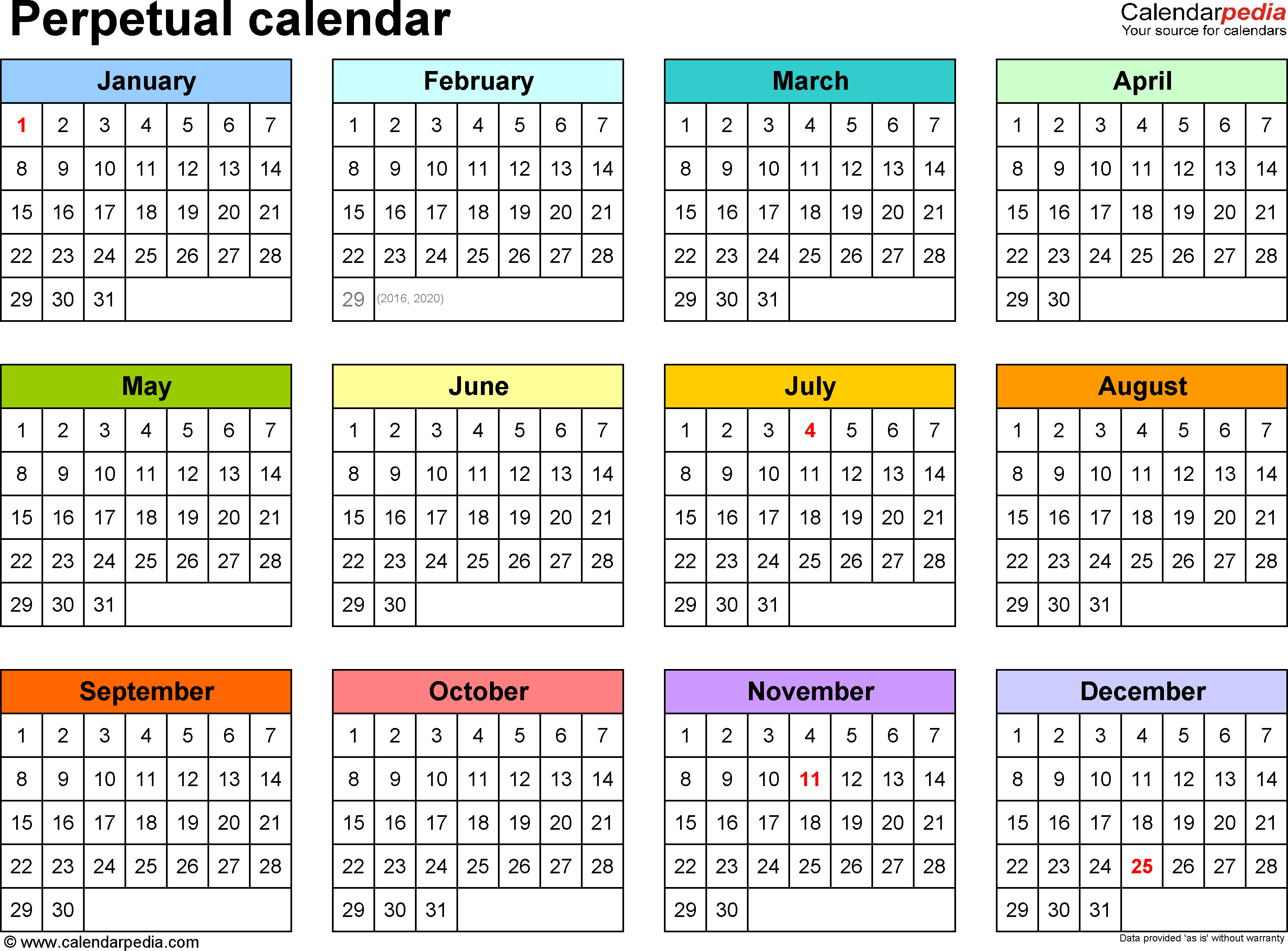 Template 5: Pdf Template For Perpetual Calendar (Landscape