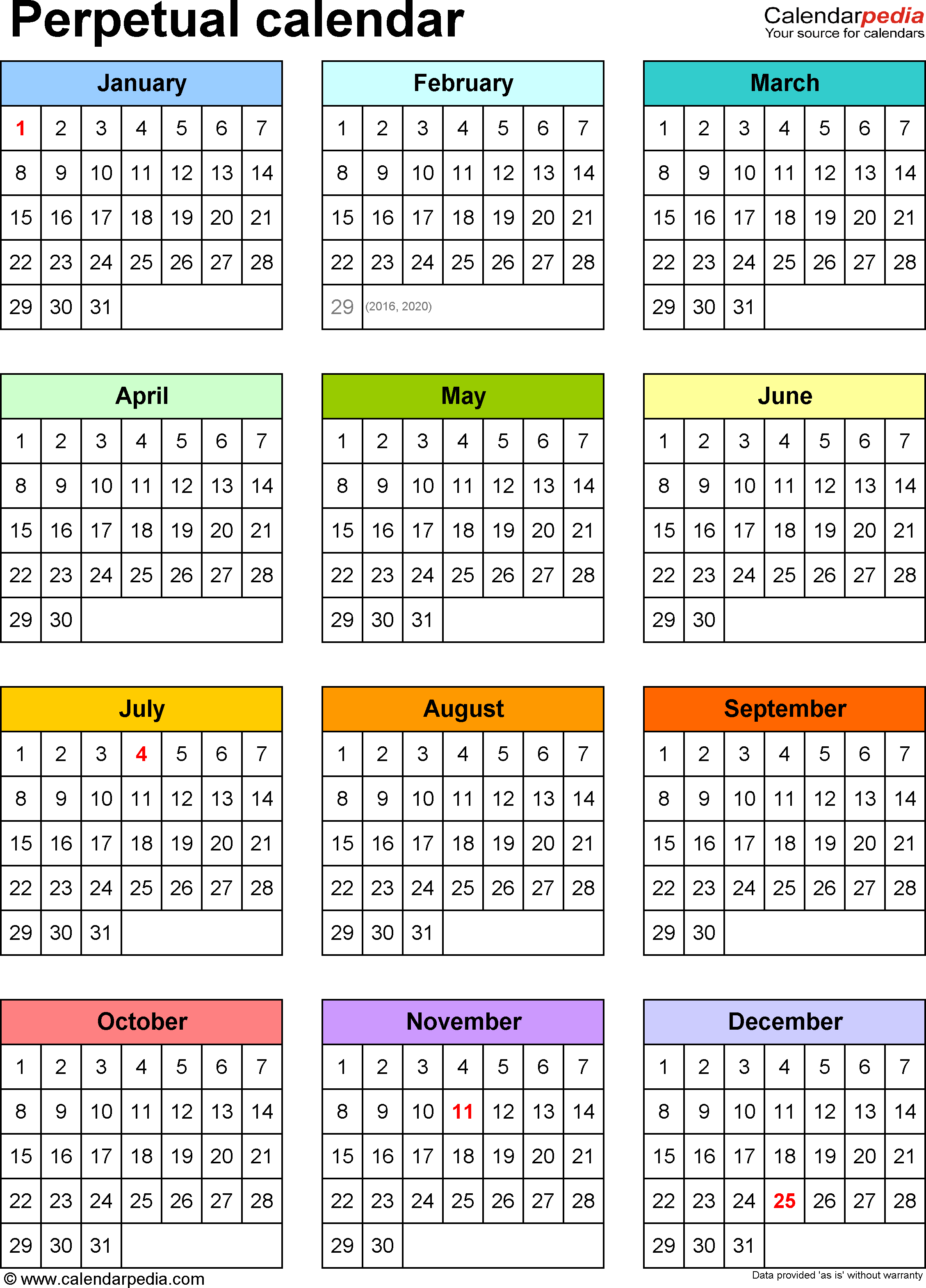 Template 9: Pdf Template For Perpetual Calendar (Portrait