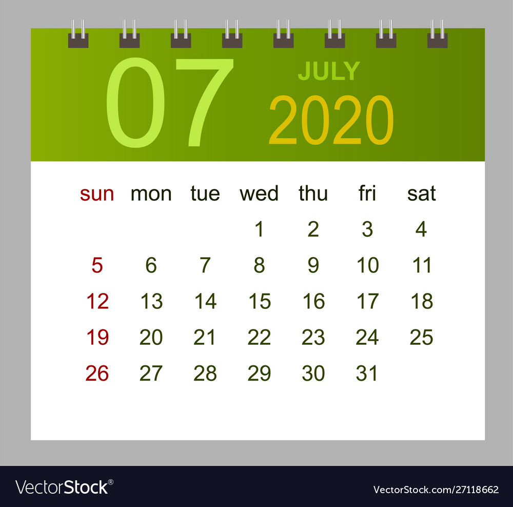Template Calendar For July 2020 Week Starts