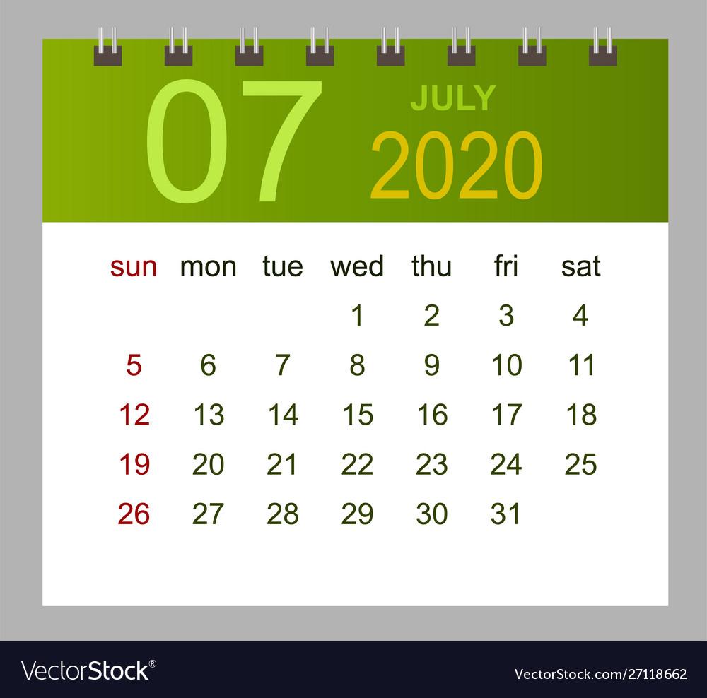 Template Calendar For July 2020 Week Starts