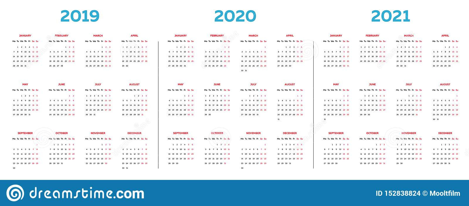 The 2019 2020 2021 Calendar Template With Classical Monthly