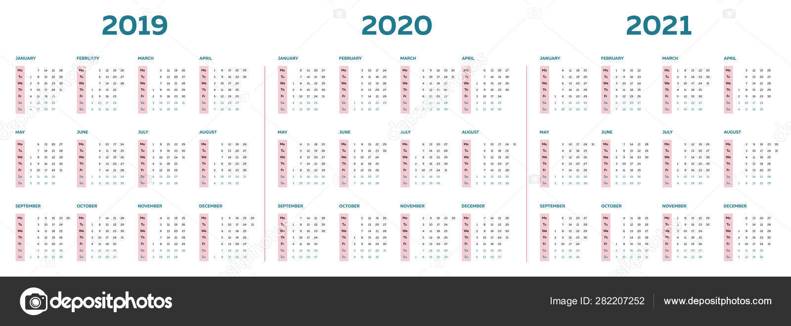 The 2019 2020 2021 Calendar Template With Vertical Monthly