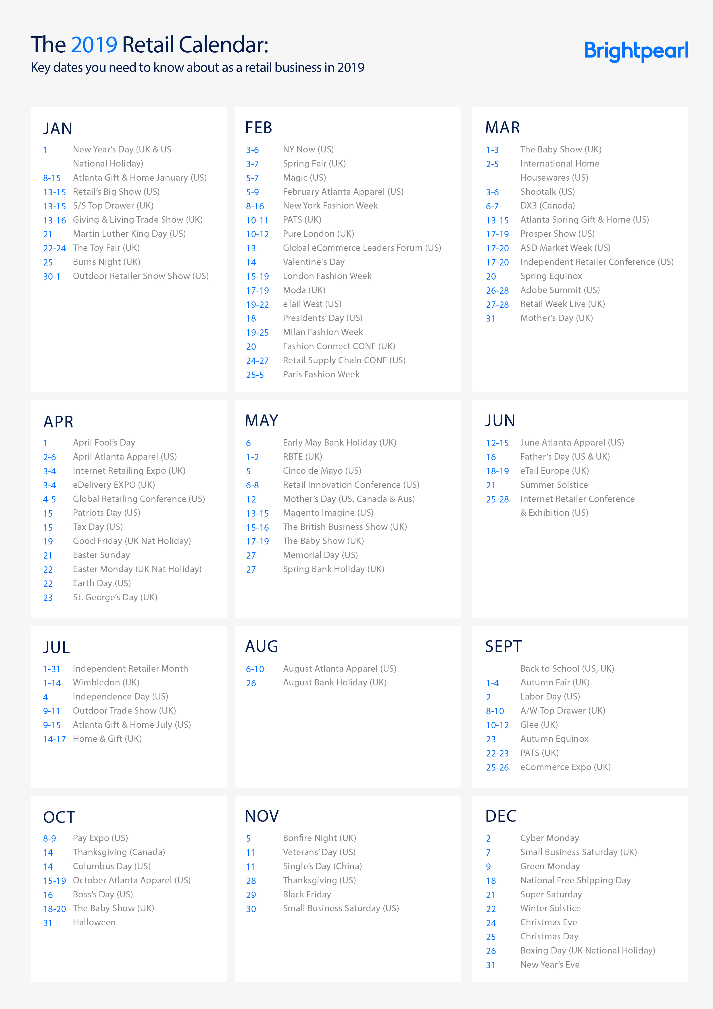 The 2019 Retail Calendar: Key Dates You Need To Know About