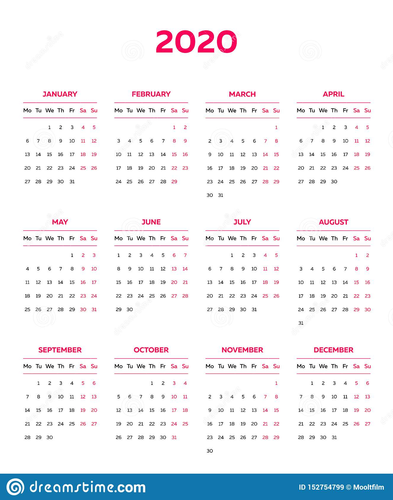 The 2020 Calendar Template With Classical Monthly Columns