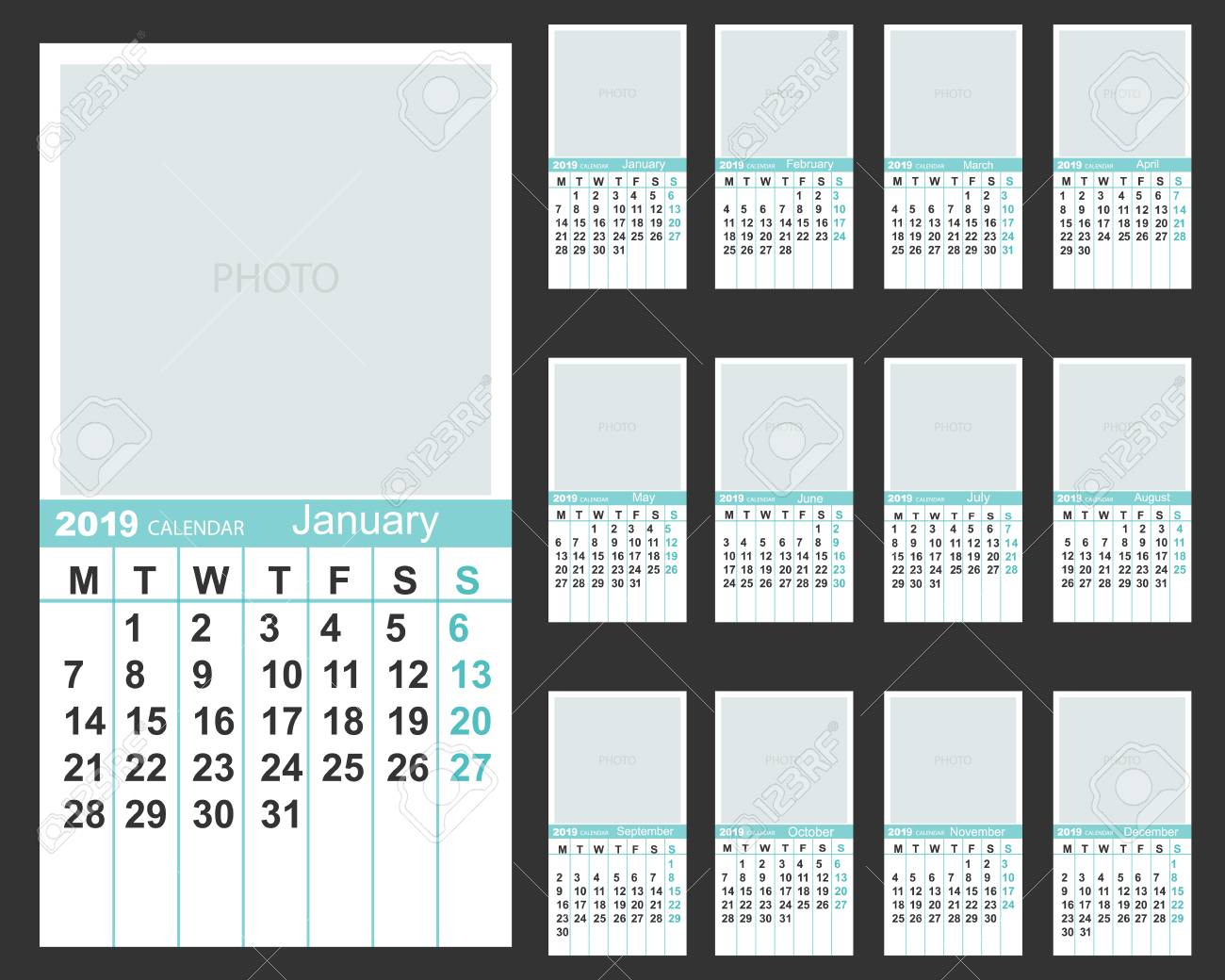 The Calendar. New Year. 2019. Date. For Your Design.