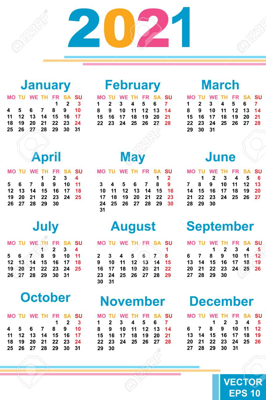 The Calendar. New Year 2021 Date. For Your Design.
