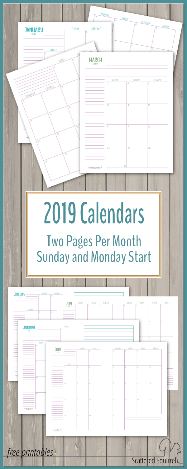The Two Pages Per Month 2019 Calendars Are Ready | Monthly