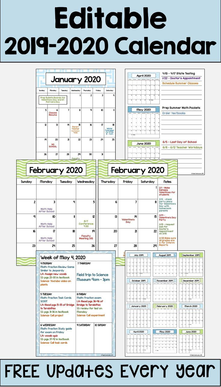 This 2019 – 2020 Editable Calendar Template Is Printable And