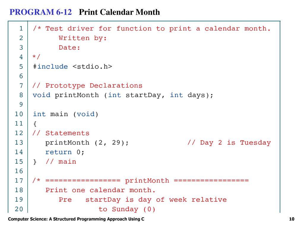 Print Calendar C Program