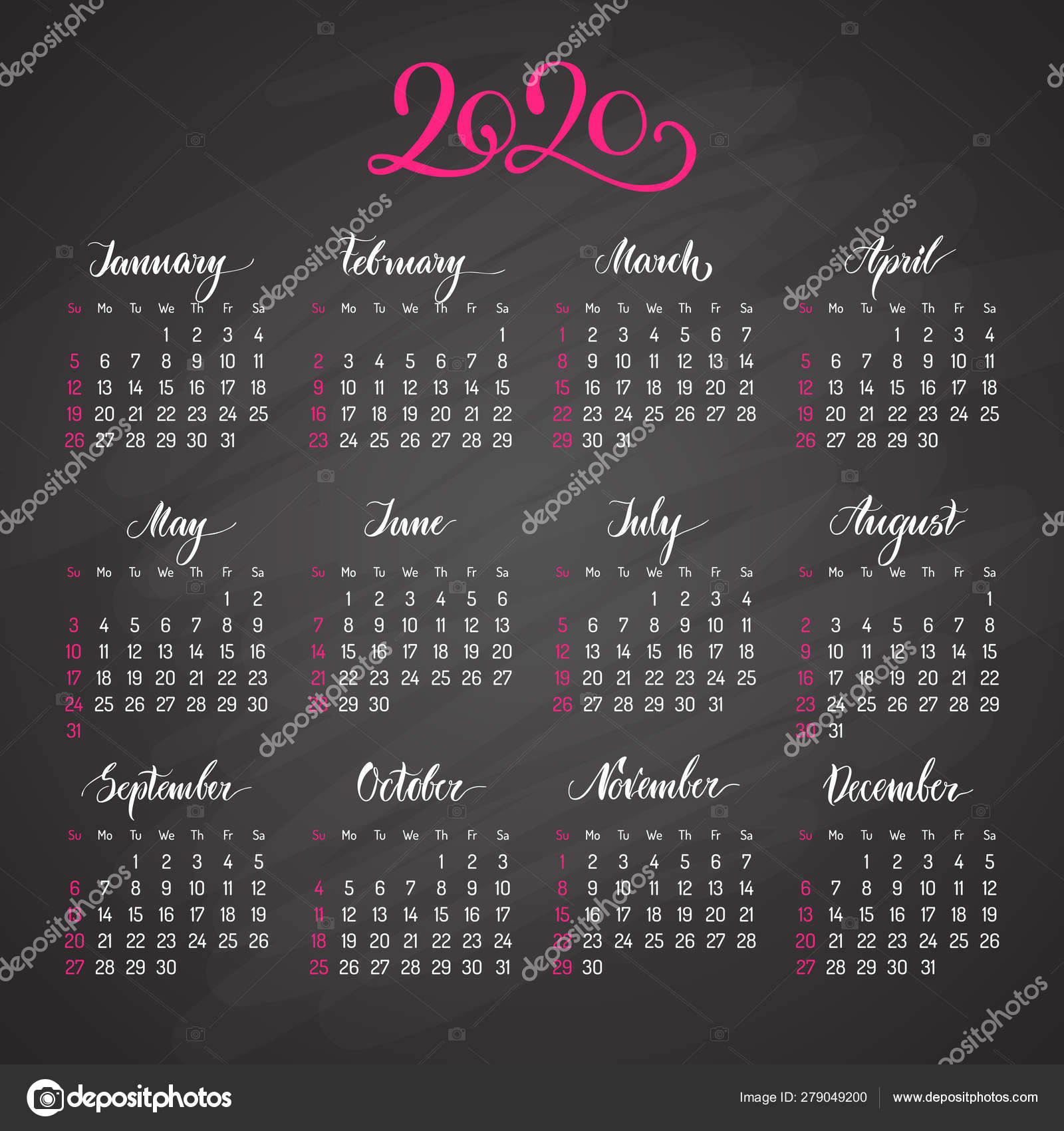 Traditional View Calendar Layout For 2020 Year — Векторное