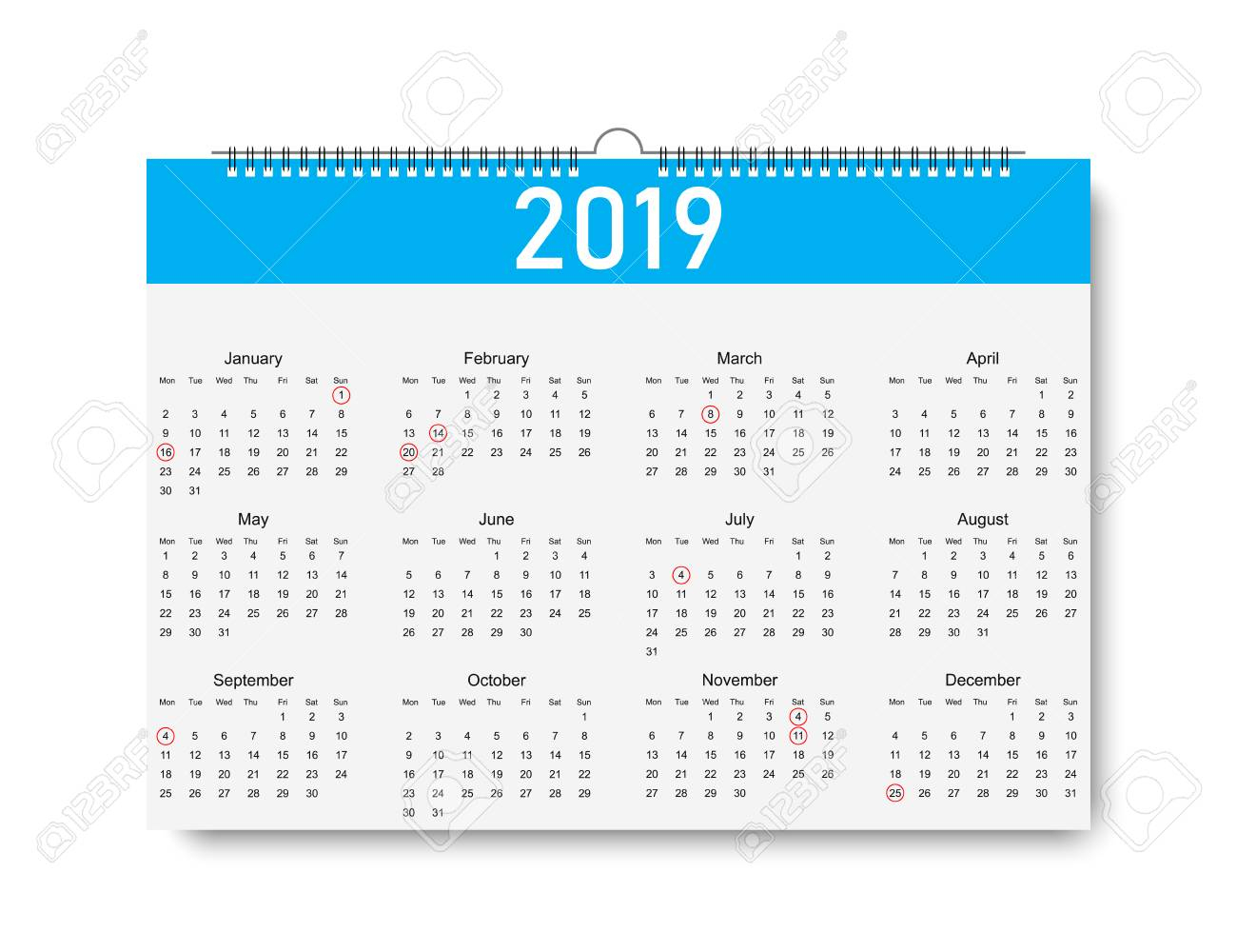 Trendy Calendar On 2019 Year. Days For Holiday. Calendar With..