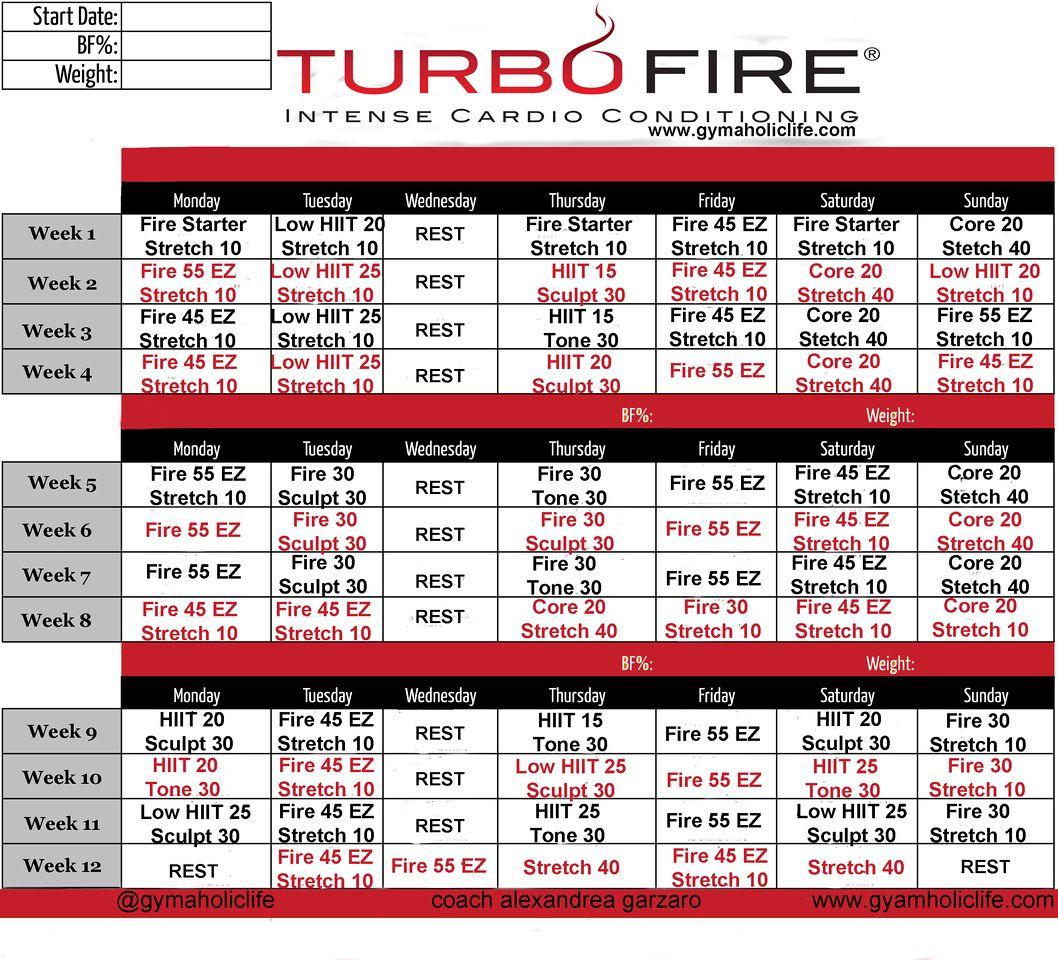 Turbo Fire Calendar Schedule | Workout Calendar, Workout