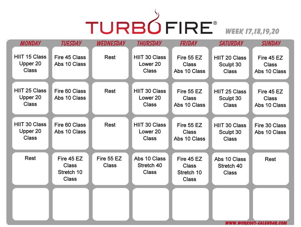 Turbo Fire Schedule Weeks 17-20 | Workout Calendar, Workout