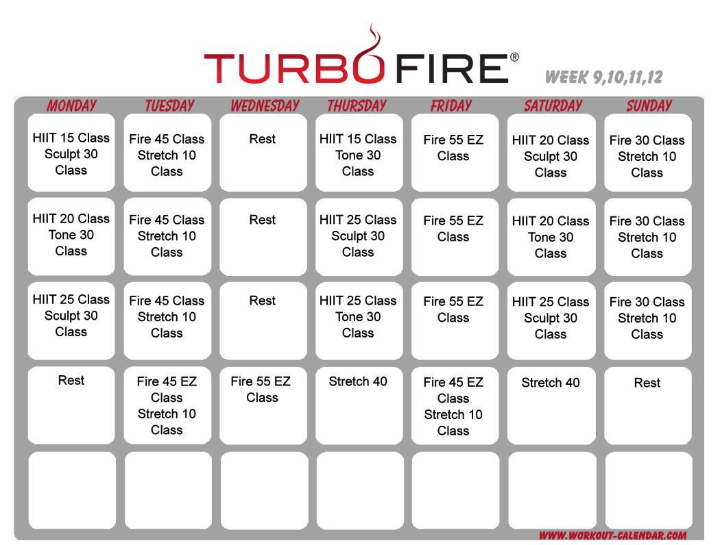 Turbo Fire Schedule Weeks 9-12 | Workout Calendar, Workout