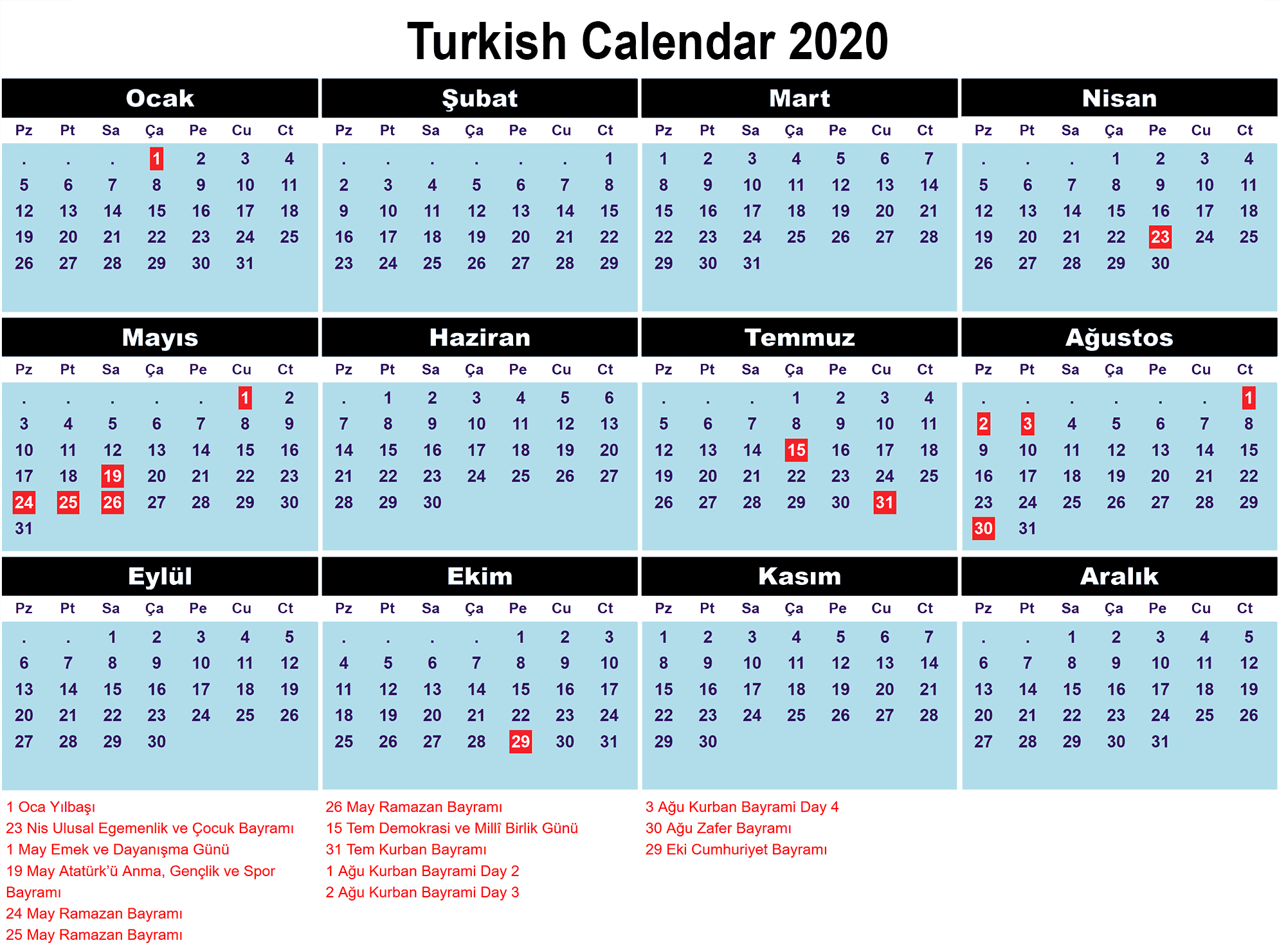 Turkish Calendar 2020 -Min (1) (1) | Printable Template Calendar