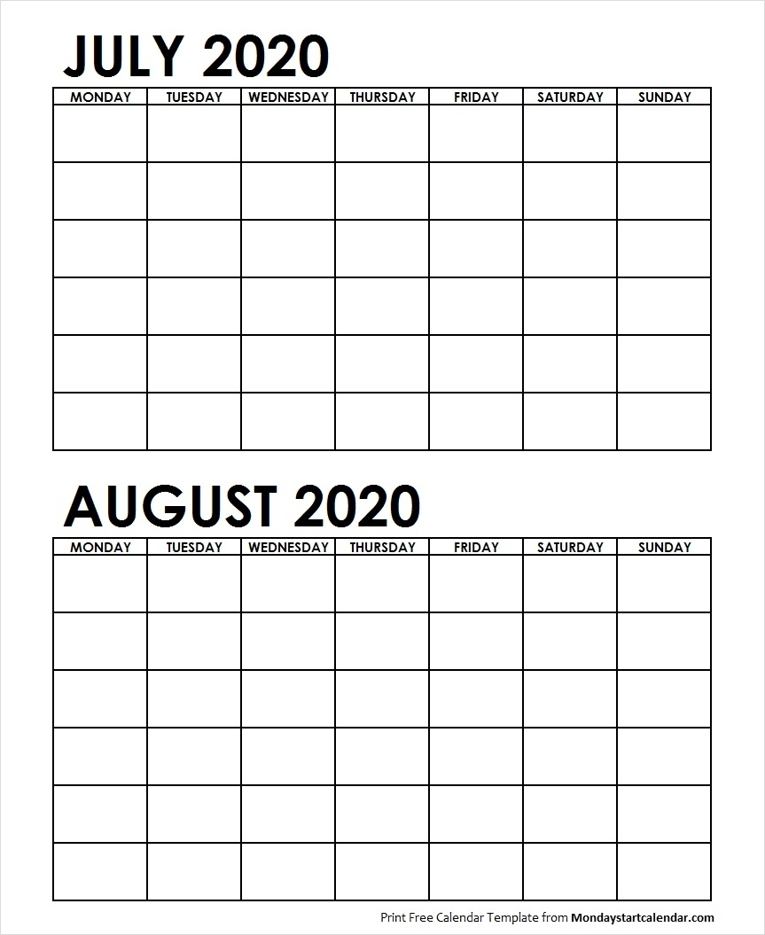 Two Month July August 2020 Calendar Blank | Two Months