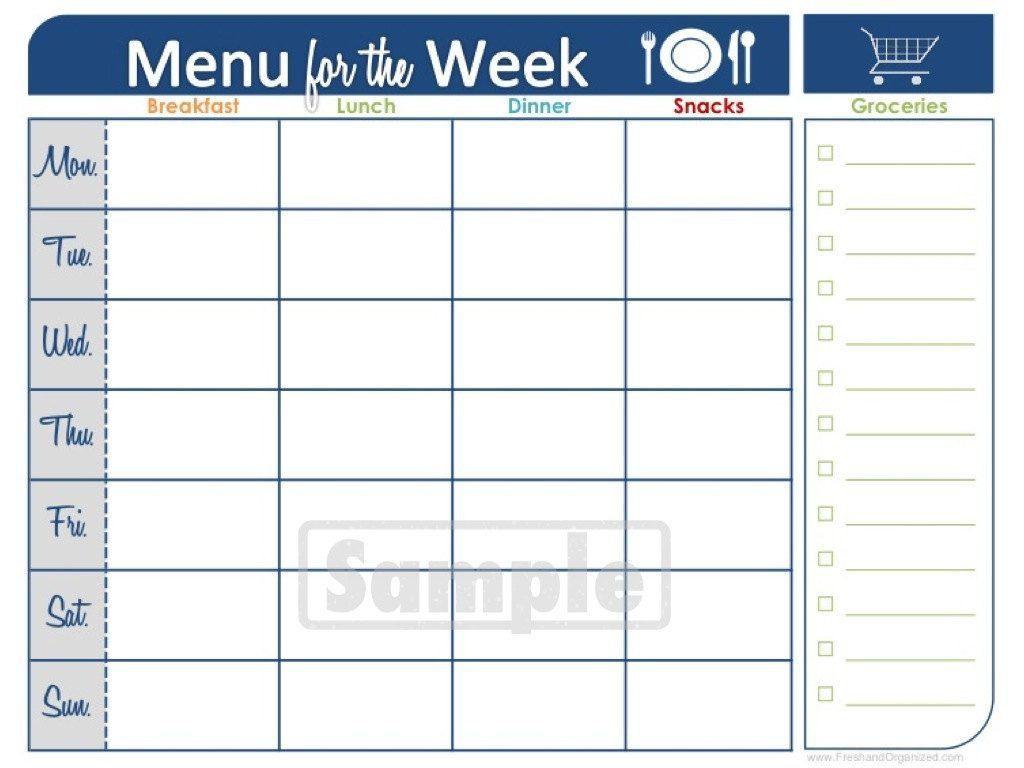 Two Week Printable Calendar | Meal Planner Printable, Menu