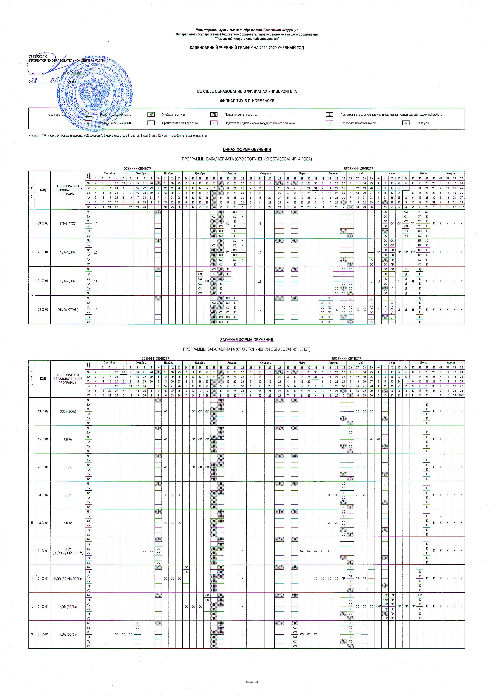 Tyumen Industrial University » Academic Calendar Timetable