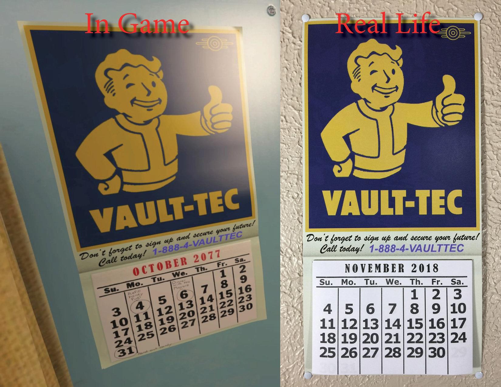 Un-Official Fallout 4/fallout 76 Calendar For 2020