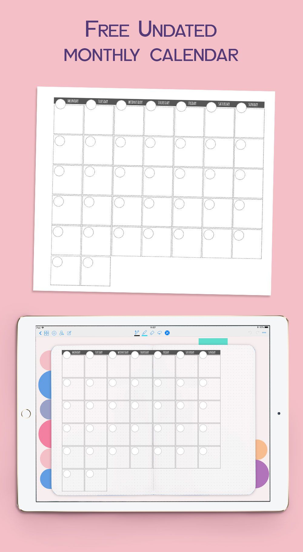 Undated Monthly Calendar For Goodnotes. #goodnotesfreebie