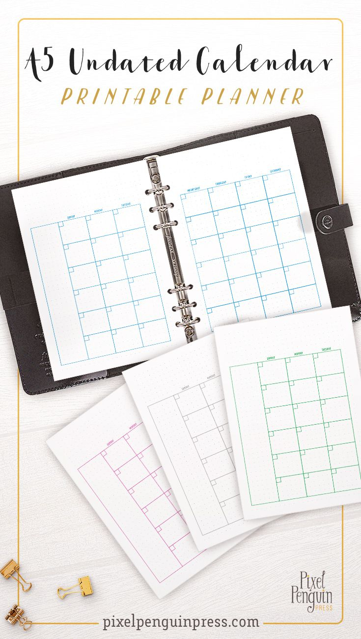 Undated Monthly Planner Printable A5, Planner Calendar