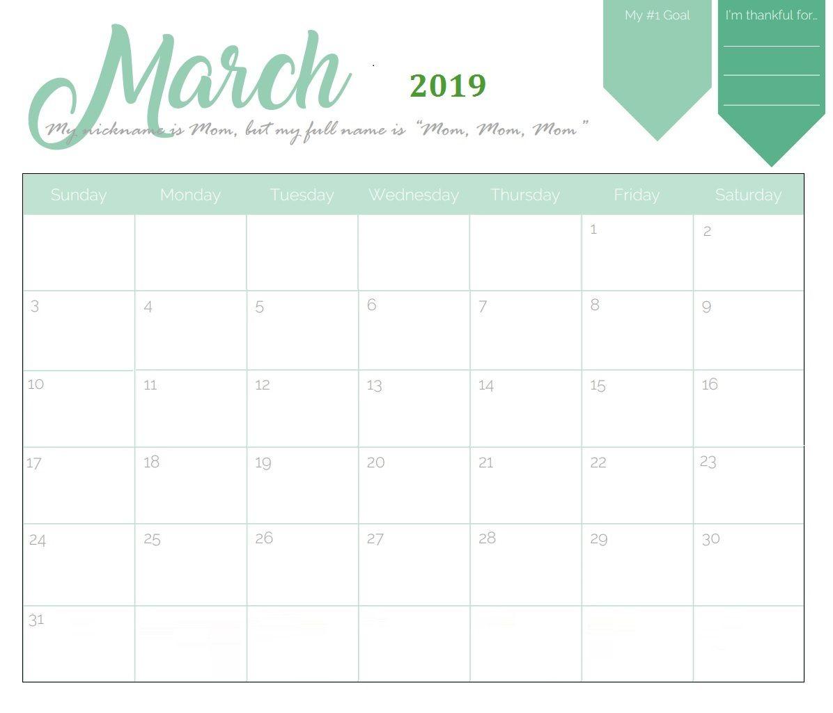 Unique March 2019 Calendar Template | Calendar March