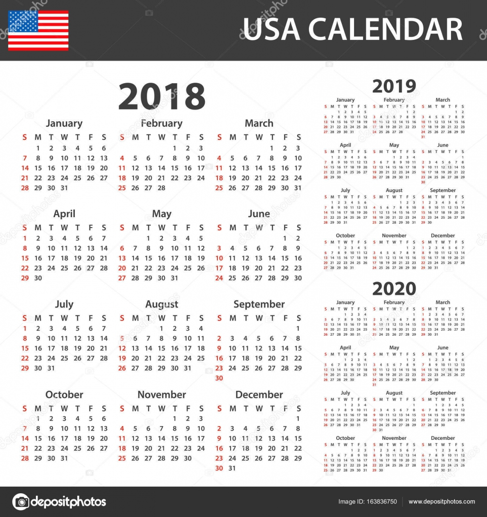 Usa Calendar For 2018, 2019 And 2020. Scheduler, Agenda Or
