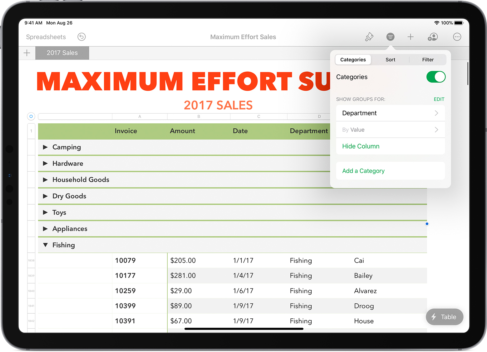Use Smart Categories In Numbers - Apple Support