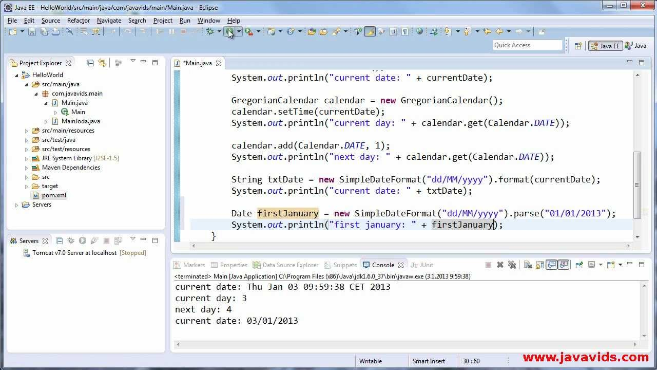 Using Date, Calendar And Simpledateformat In Java : Javavids