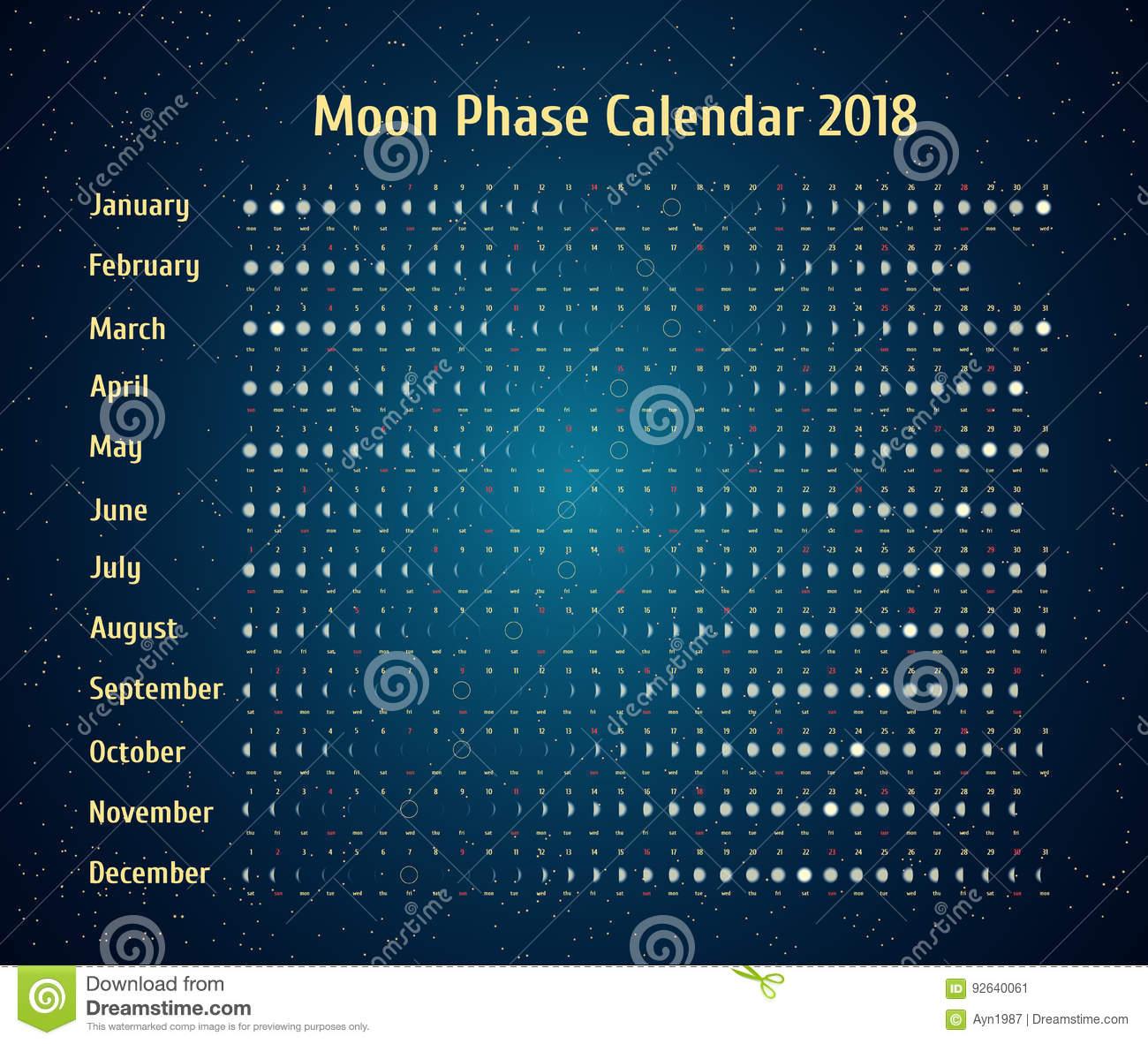 Vector Astrological Calendar For 2018. Moon Phase Calendar