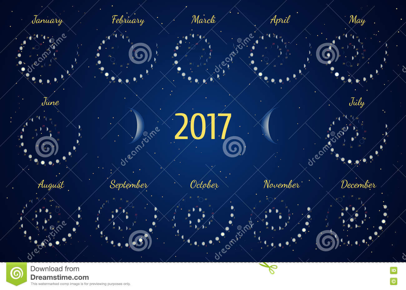 Vector Astrological Spiral Calendar For 2017. Moon Phase