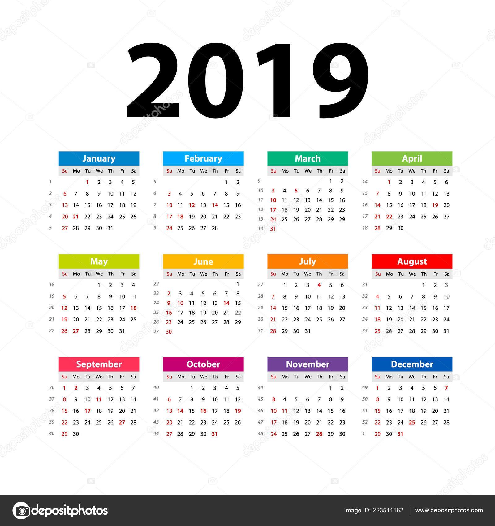 Vector Calendar 2019 Colorful Week Starts Sunday English