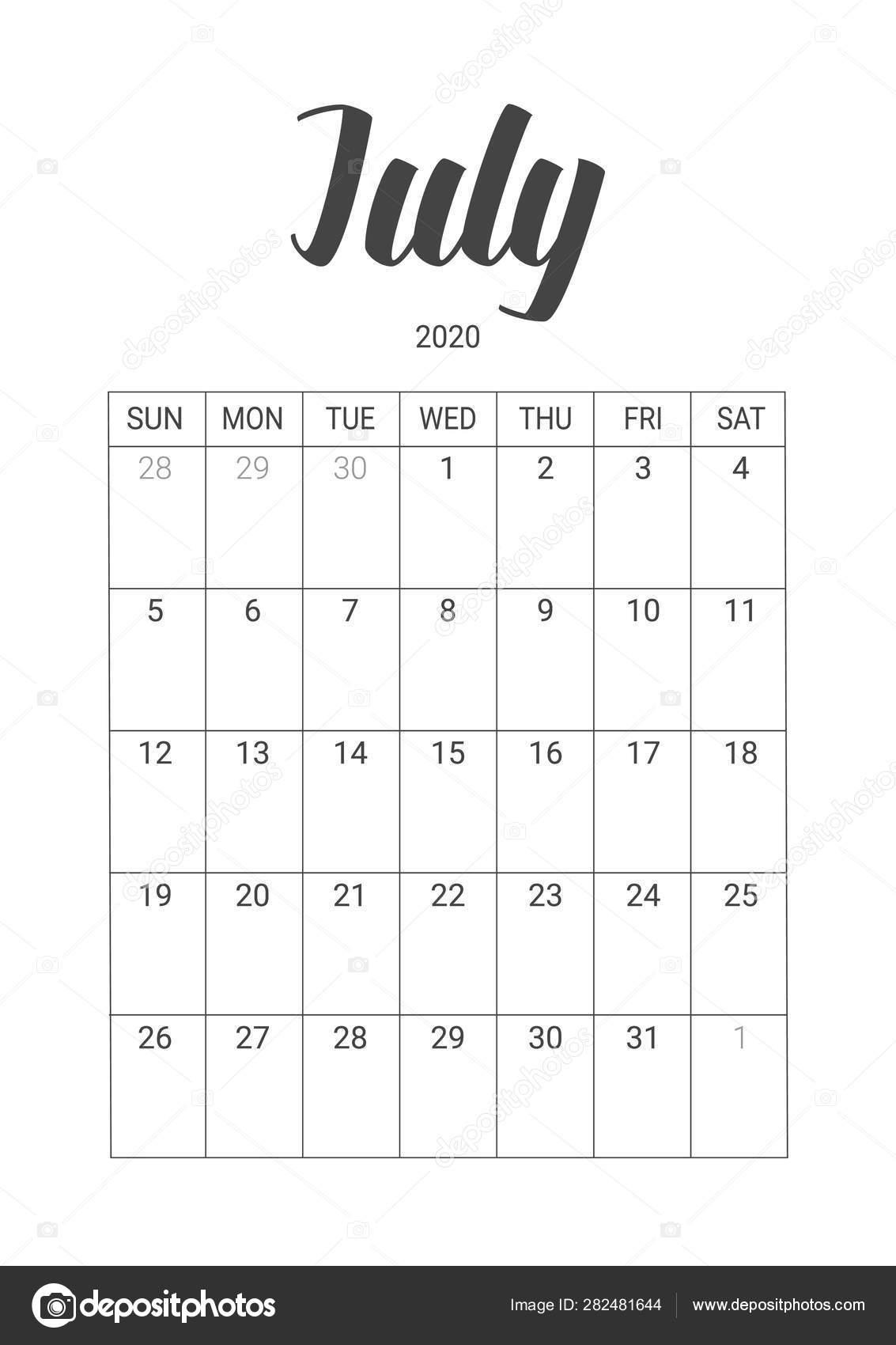 Vector Calendar For July 2020. Stationery Design