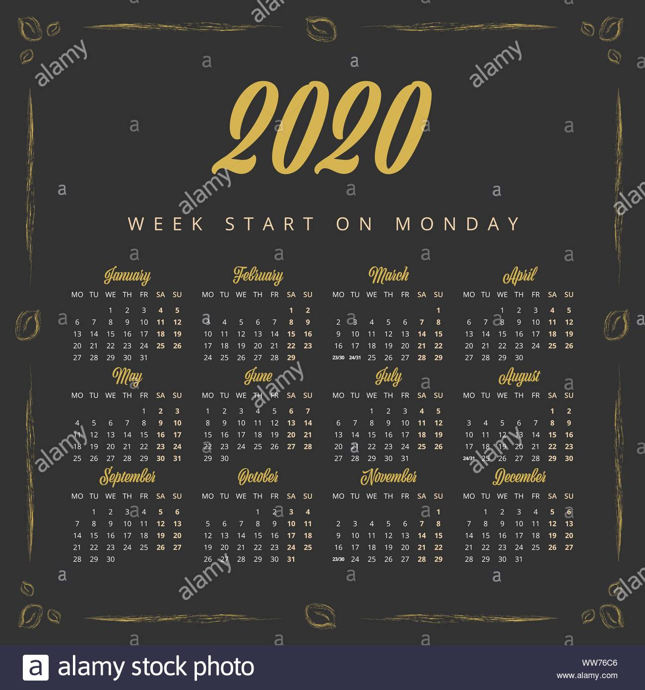 Vintage 2020 Year Calendar On The Black Background Stock