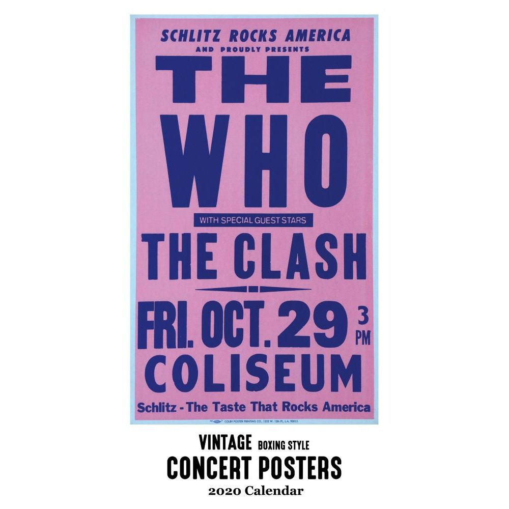 Vintage Concert Posters 2020 Poster Wall Calendar