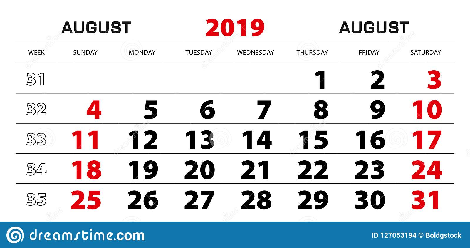 Wall Calendar 2019 For August, Week Start From Sunday. Stock