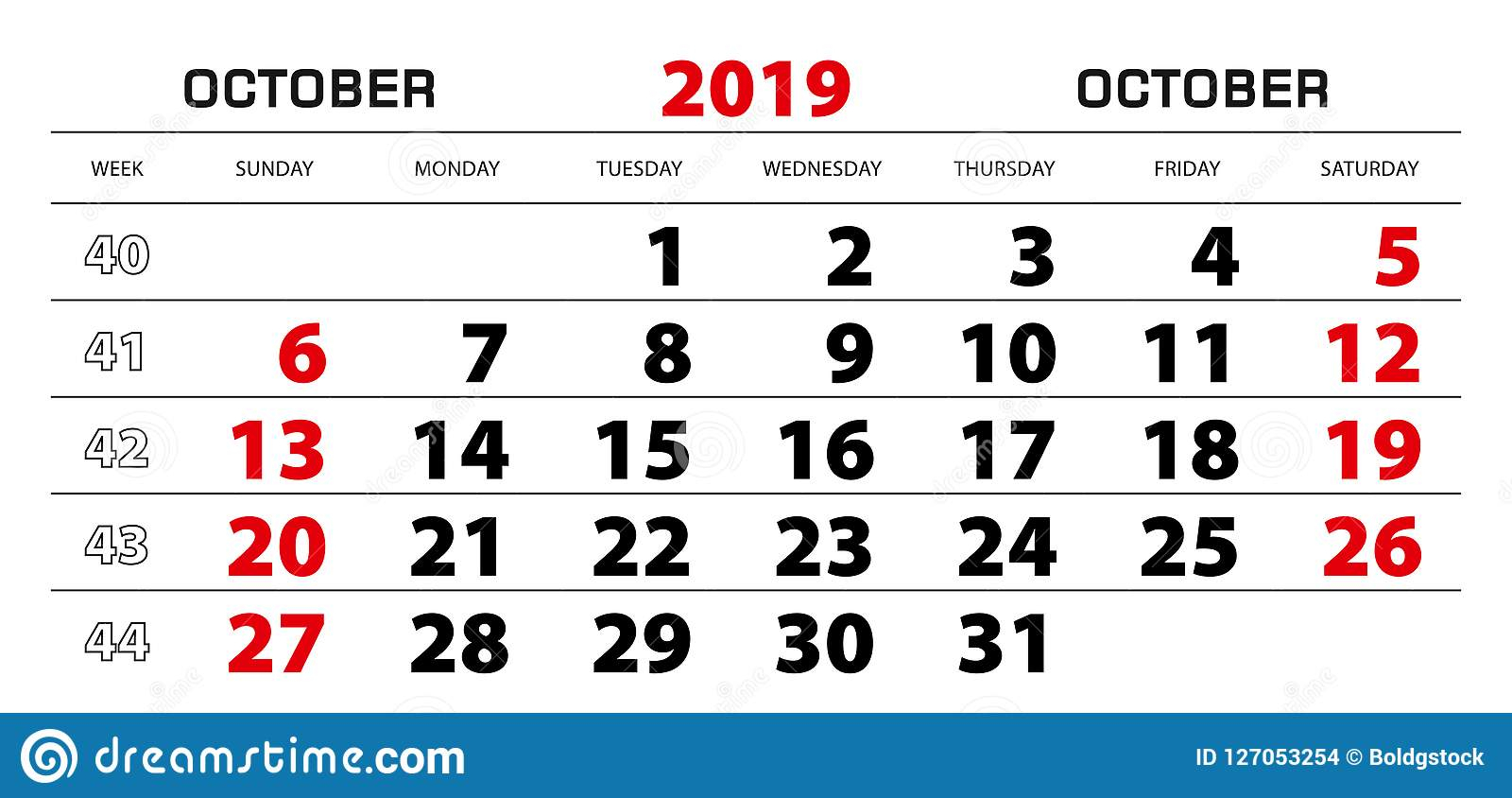 Wall Calendar 2019 For October, Week Start From Sunday
