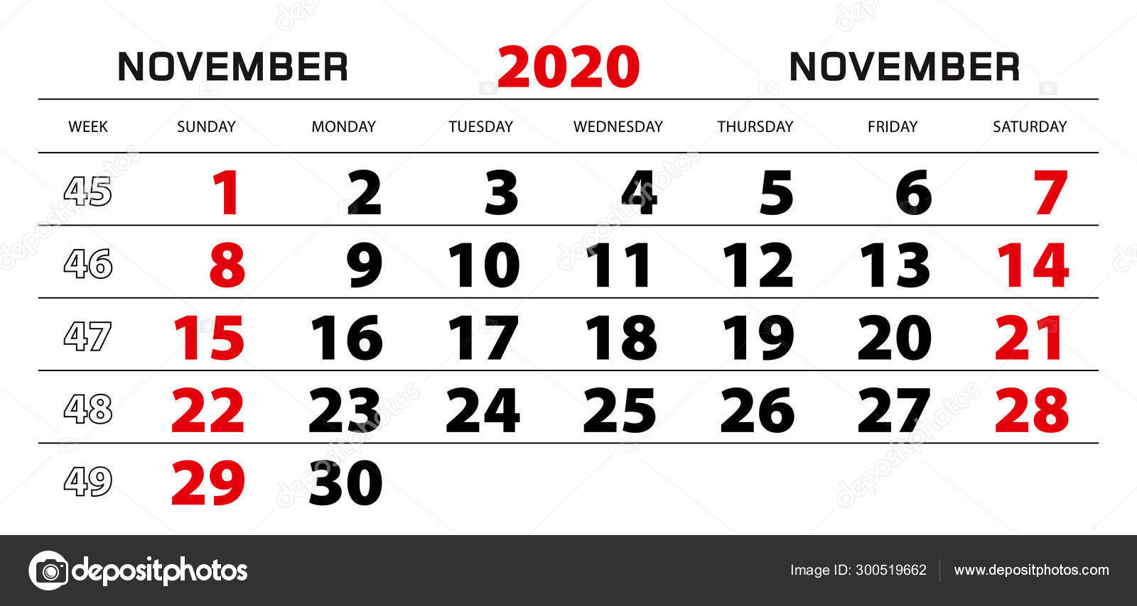 Wall Calendar 2020 For November, Week Start From Sunday