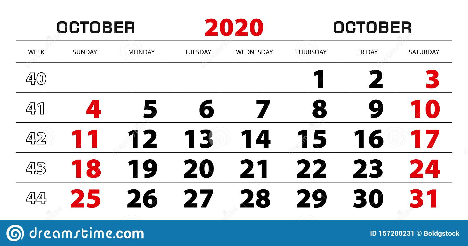 Wall Calendar 2020 For October, Week Start From Sunday Stock