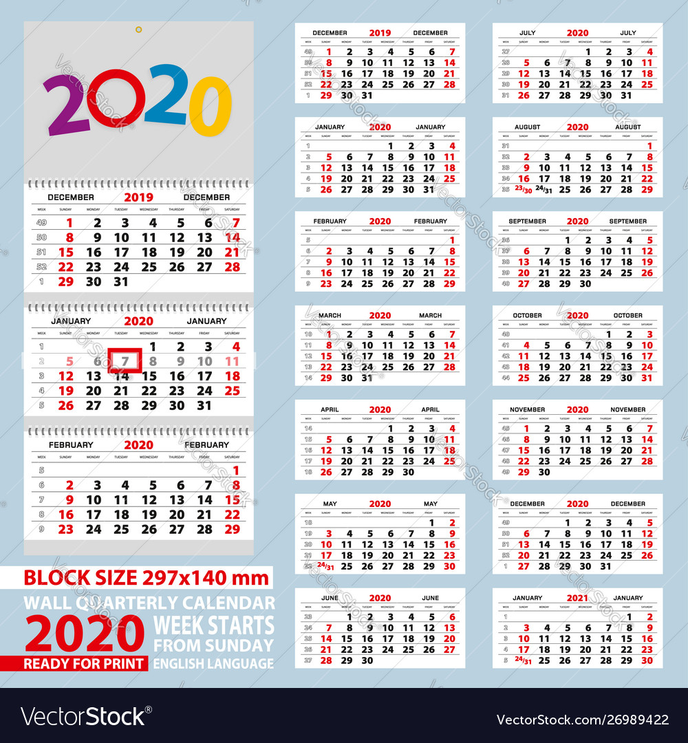 Wall Calendar 2020 Week Start From Sunday For A4