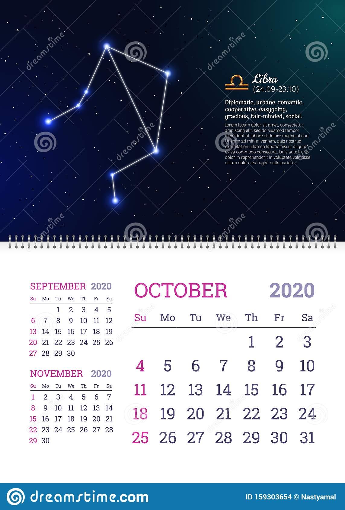 Wall Calendar For October 2020 Year Stock Vector